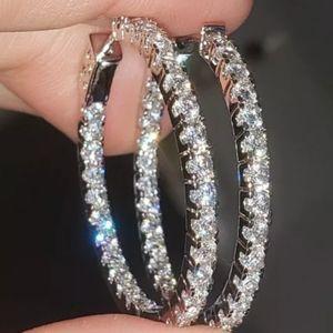 NEW 3 CARAT TW DIAMOND INSIDE OUT HOOP EARRINGS